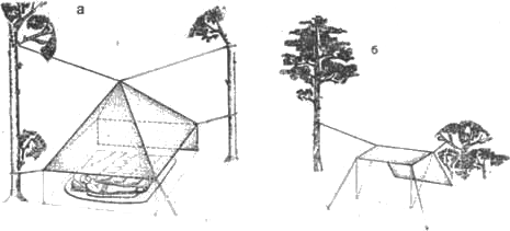 Схема установки тента в лесу